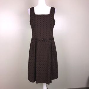 TALBOTS Brown Eyelet Sleeveless Midi Dress